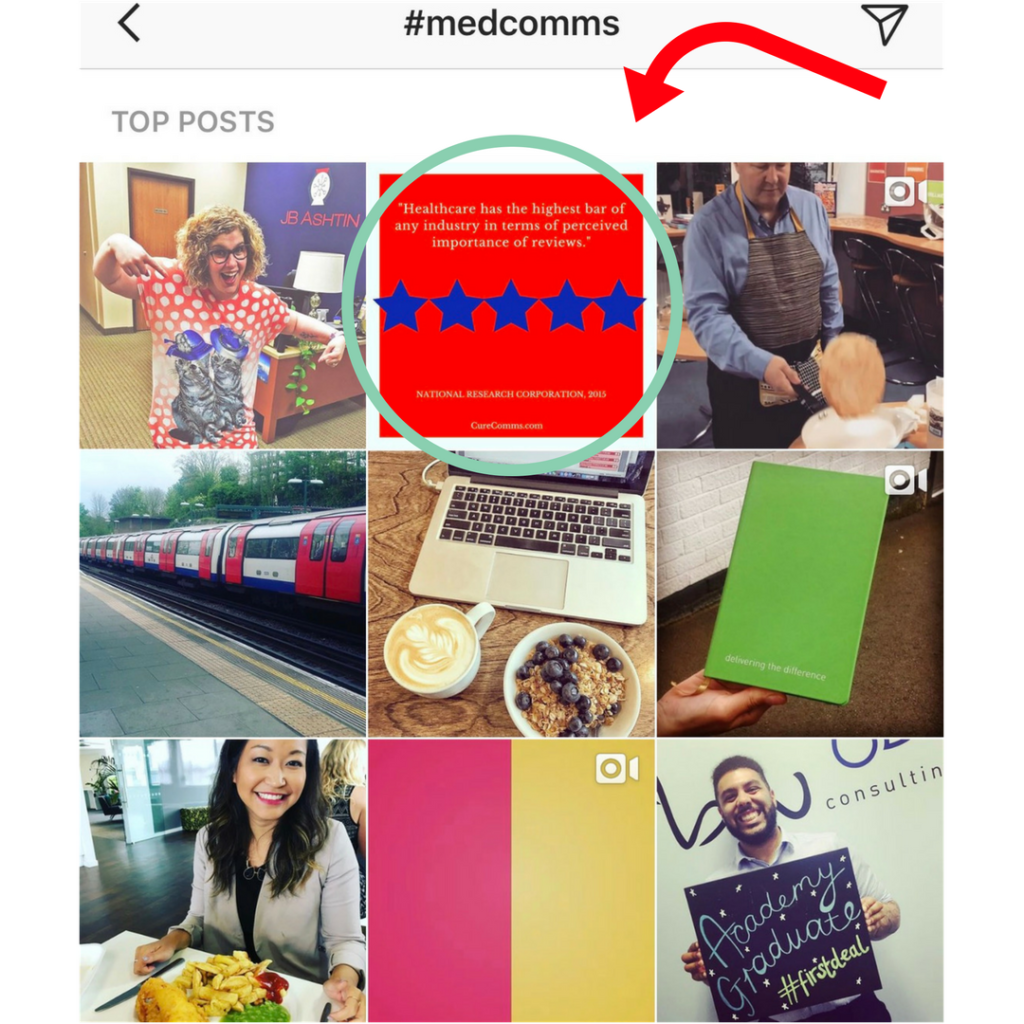 #medcomms top posts on Instagram